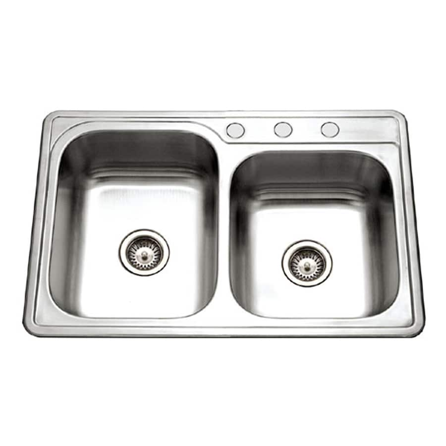 HOUZER Glowtone 22-in x 33-in Lustrous Satin Double-Basin Drop-in 1-Hole Residential Kitchen Sink