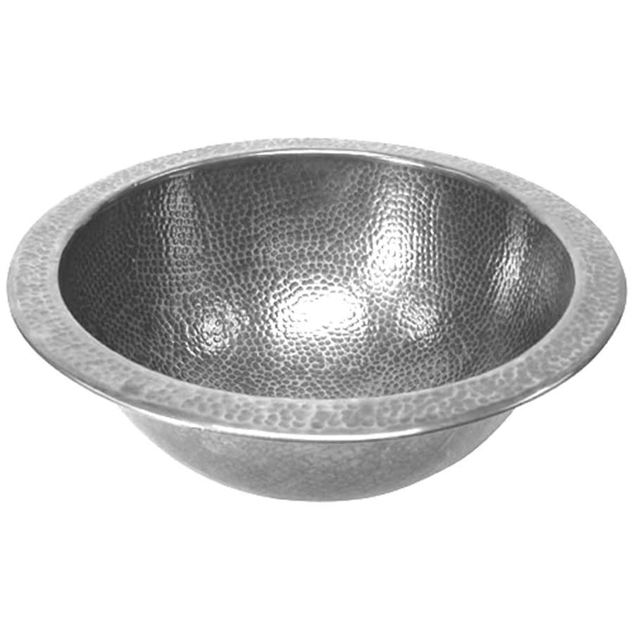 HOUZER Hammerwerks Pewter Copper Drop-in Round Bathroom Sink with Overflow
