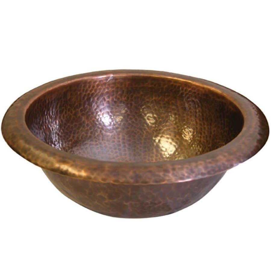 Shop houzer hammerwerks copper drop in round bathroom sink - Copper drop in kitchen sink ...
