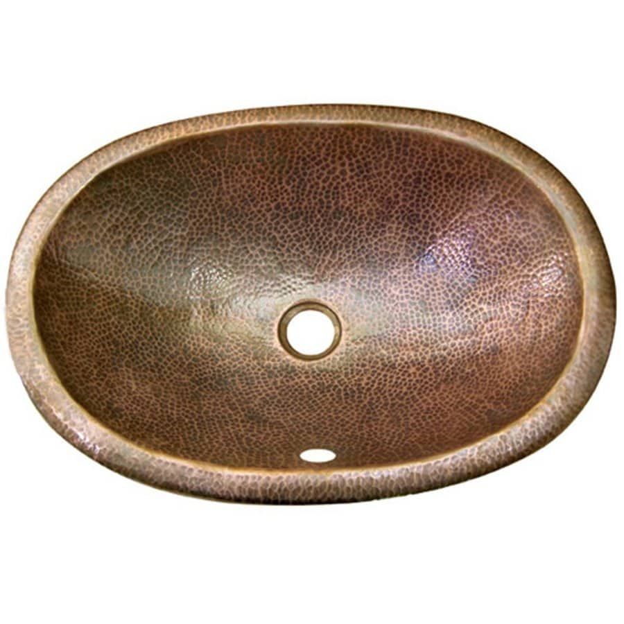 HOUZER Hammerwerks Copper Drop-in Elliptical Bathroom Sink with Overflow