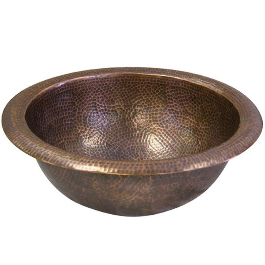HOUZER Hammerwerks Copper Copper Drop-in Round Bathroom Sink with Overflow