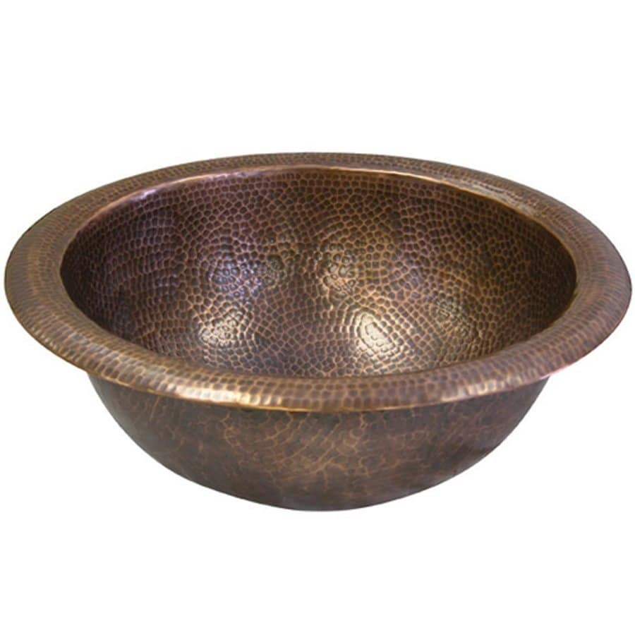 HOUZER Hammerwerks Copper Copper Drop-in Round Bathroom Sink with Overflow