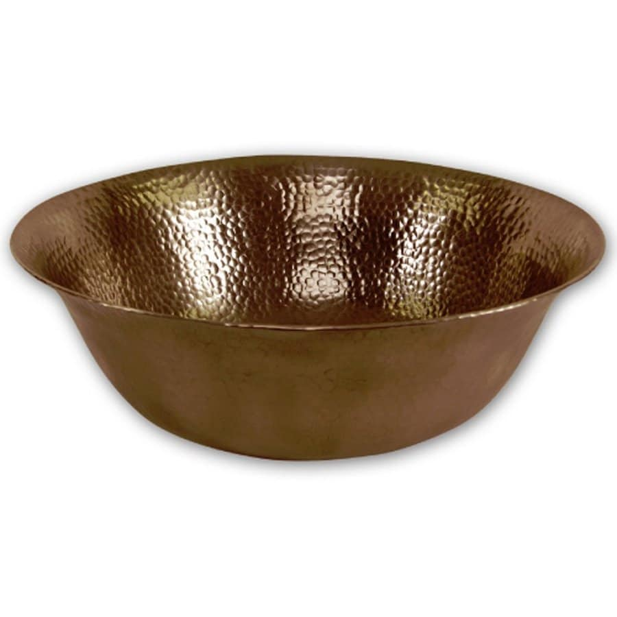 HOUZER Hammerwerks Copper Copper Vessel Round Bathroom Sink