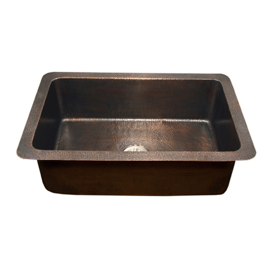 HOUZER Hammerwerks 22-in x 32-in Antique Copper Single-Basin Copper Drop-in or Undermount Residential Kitchen Sink