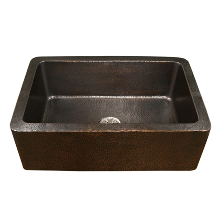 Shop HOUZER Hammerwerks 22-in x 32-in Antique Copper Single-Basin ...