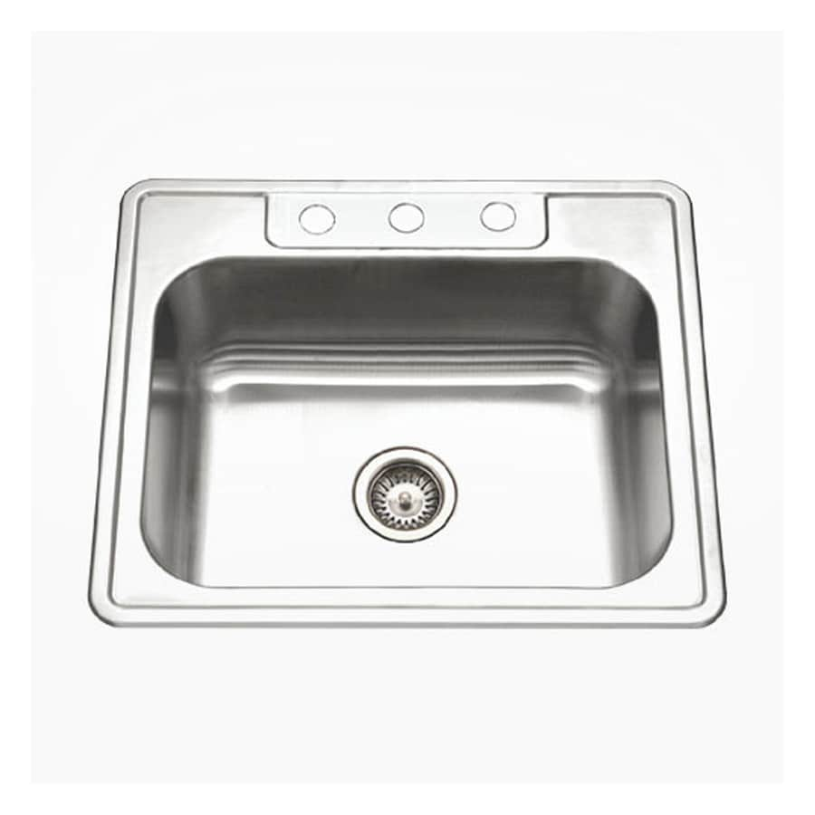 HOUZER Glowtone Ada 22-in x 25-in Lustrous Satin Single-Basin-Basin Stainless Steel Drop-in 3-Hole Residential Kitchen Sink
