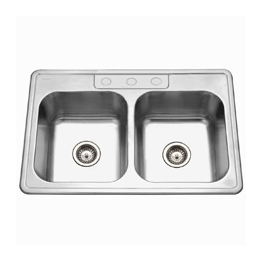 HOUZER Glowtone Ada 22-in x 33-in Lustrous Satin 2 Stainless Steel Drop-in 3-Hole Residential Kitchen Sink