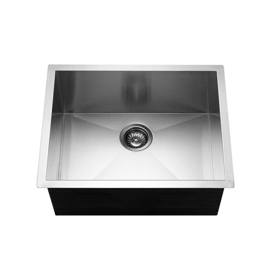 HOUZER Contempo 18-in x 23-in Brushed Satin Single-Basin Stainless Steel Undermount Residential Kitchen Sink