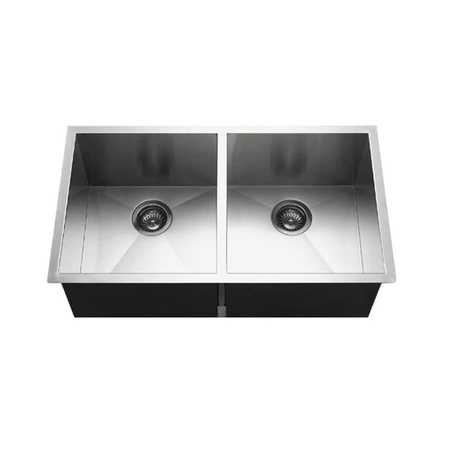 HOUZER Contempo 18-in x 33-in Brushed Satin Double-Basin Stainless Steel Undermount 1-Hole Residential Kitchen Sink
