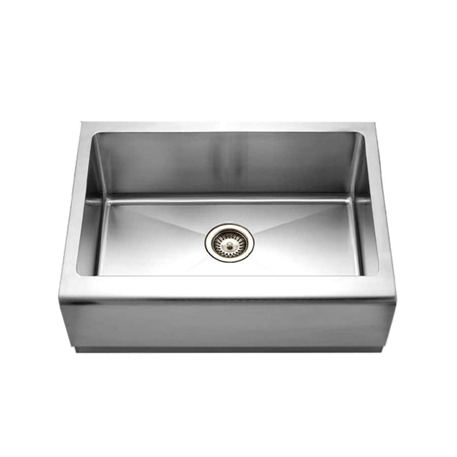 HOUZER Epicure 20-in x 30-in Brushed Satin Single-Basin Stainless Steel Apron Front/Farmhouse Residential Kitchen Sink