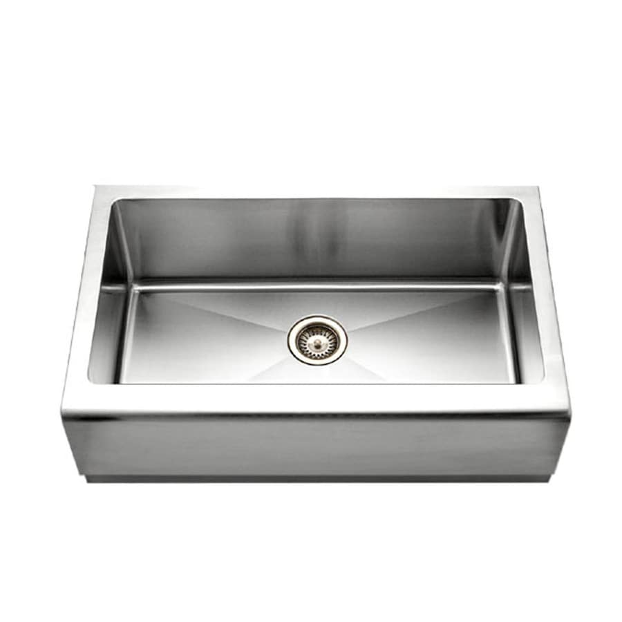 HOUZER Epicure 20-in x 33-in Brushed Satin Single-Basin Stainless Steel Apron Front/Farmhouse Residential Kitchen Sink