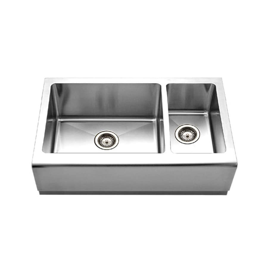 HOUZER Epicure 20-in x 33-in Brushed Satin Double-Basin Apron Front/Farmhouse Residential Kitchen Sink