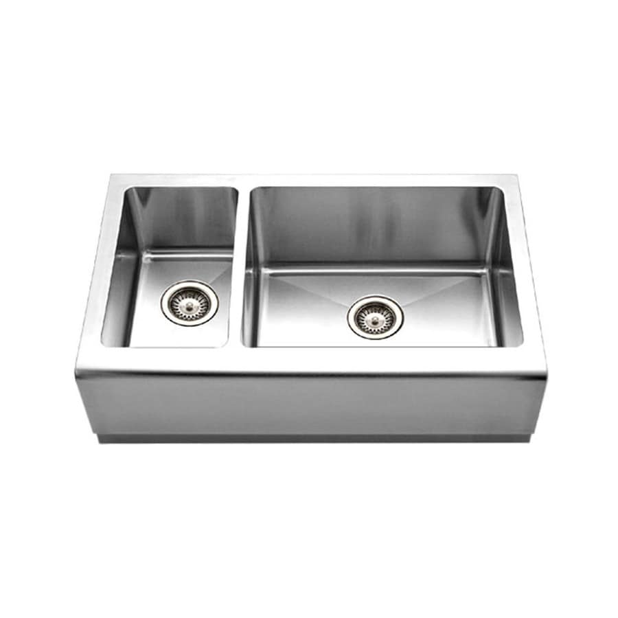 HOUZER Epicure 20-in x 33-in Brushed Satin Double-Basin Stainless Steel Apron Front/Farmhouse Residential Kitchen Sink