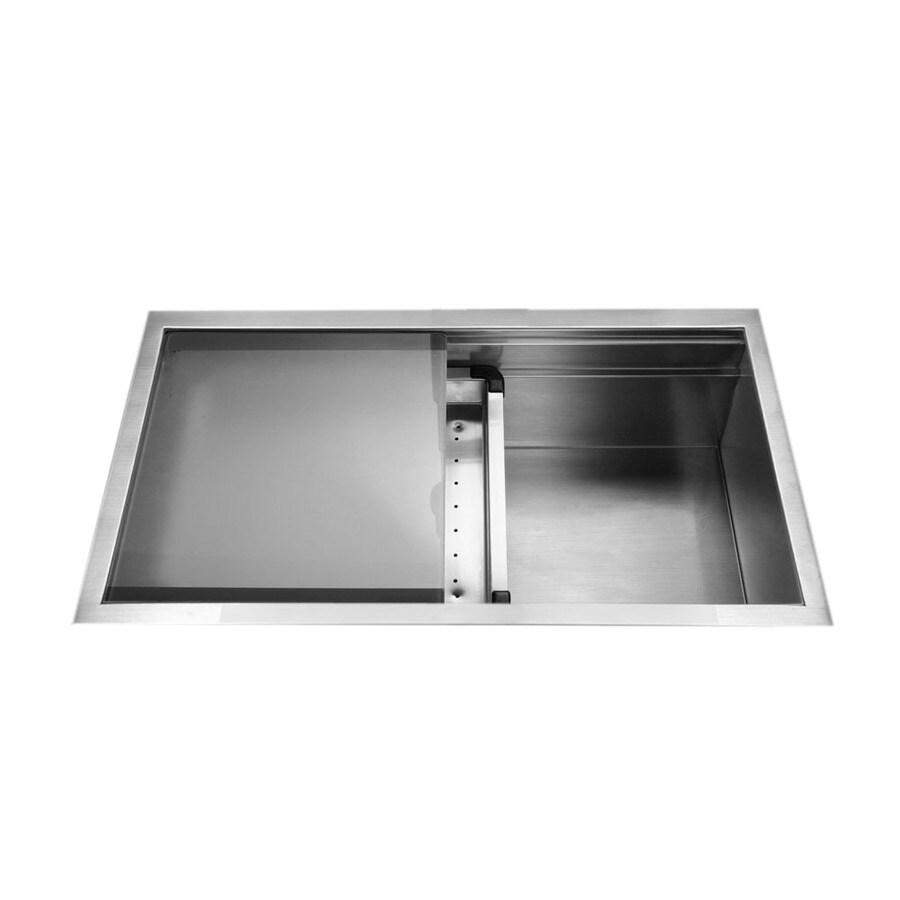HOUZER Novus 18-in x 32-in Brushed Satin Single-Basin-Basin Stainless Steel Undermount (Customizable)-Hole Residential Kitchen Sink