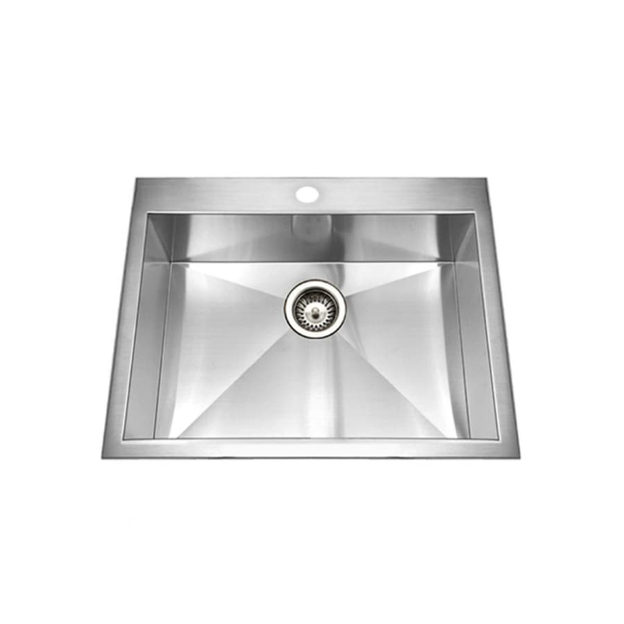 HOUZER Bellus 22-in x 25-in Lustrous Satin Single-Basin Drop-in 1-Hole Residential Kitchen Sink