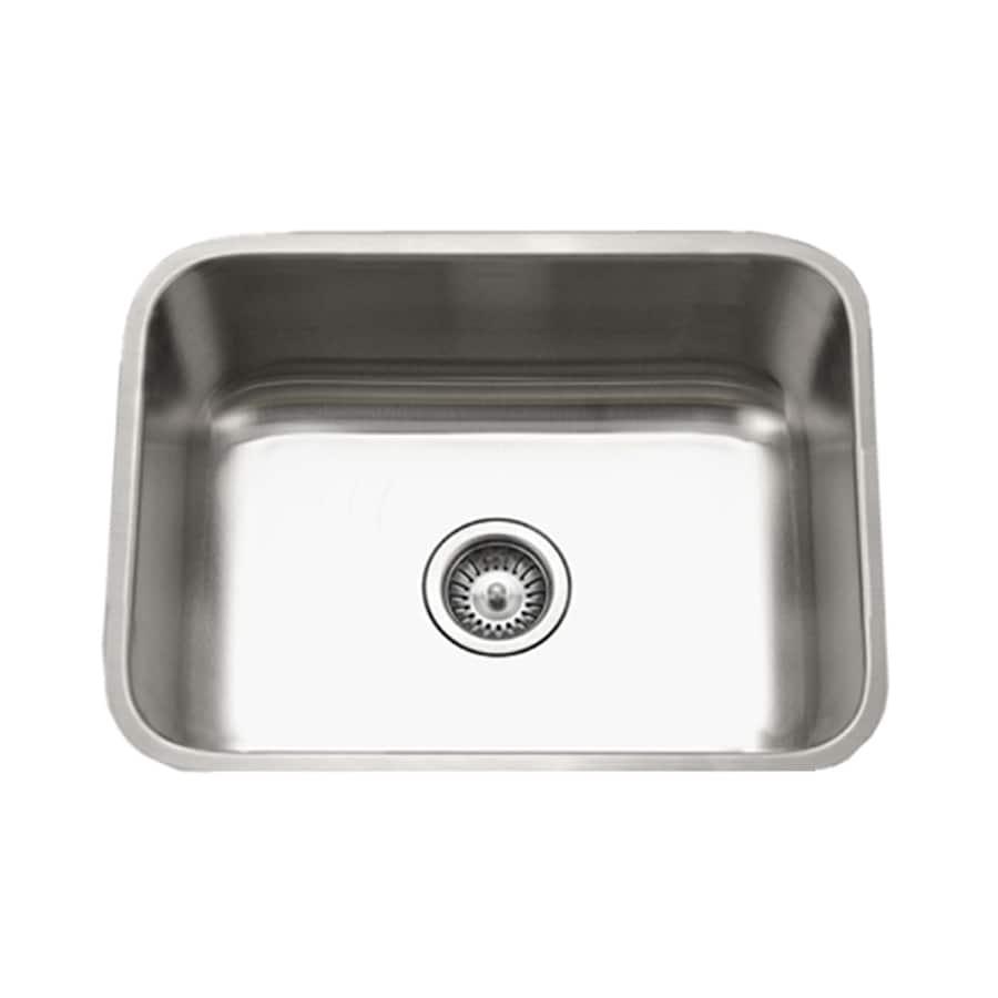 HOUZER Eston 18-in x 23-in Lustrous Satin Single-Basin Stainless Steel Undermount Residential Kitchen Sink