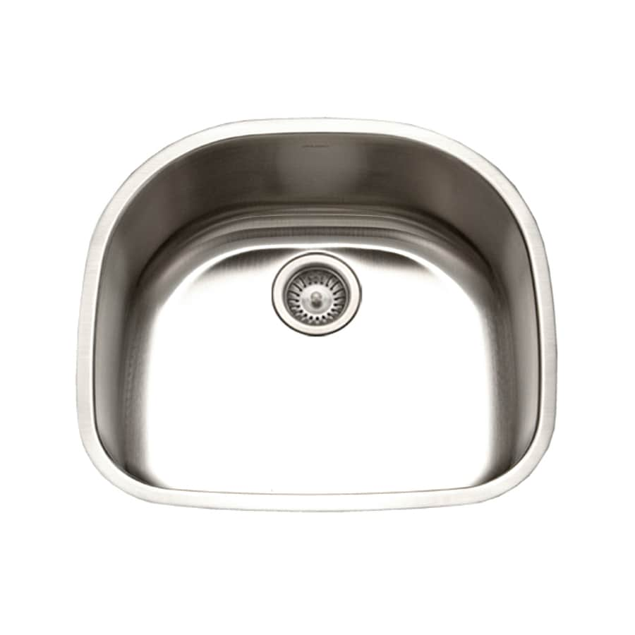 HOUZER Eston 21-in x 23-in Lustrous Satin Single-Basin Stainless Steel Undermount Residential Kitchen Sink