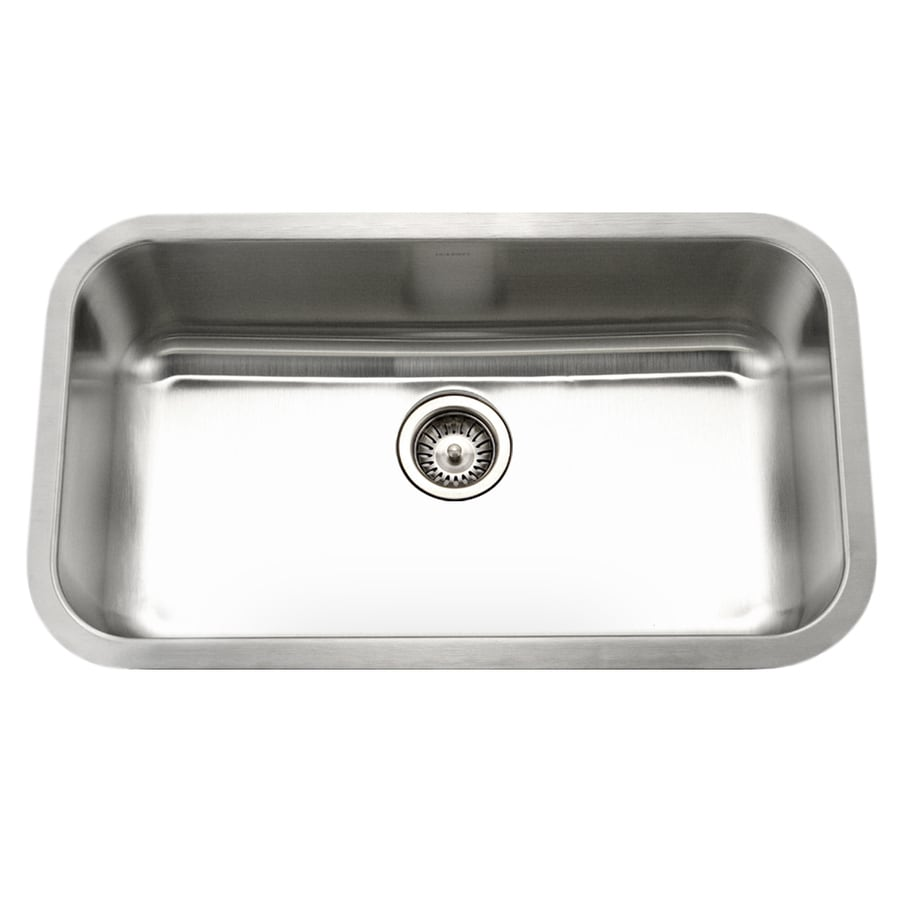 HOUZER Eston 31.375-in x 31.375-in Lustrous Satin Single-Basin Undermount Residential Kitchen Sink
