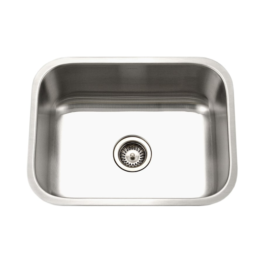 HOUZER Eston 23-in x 23-in Lustrous Satin Single-Basin Undermount Residential Kitchen Sink
