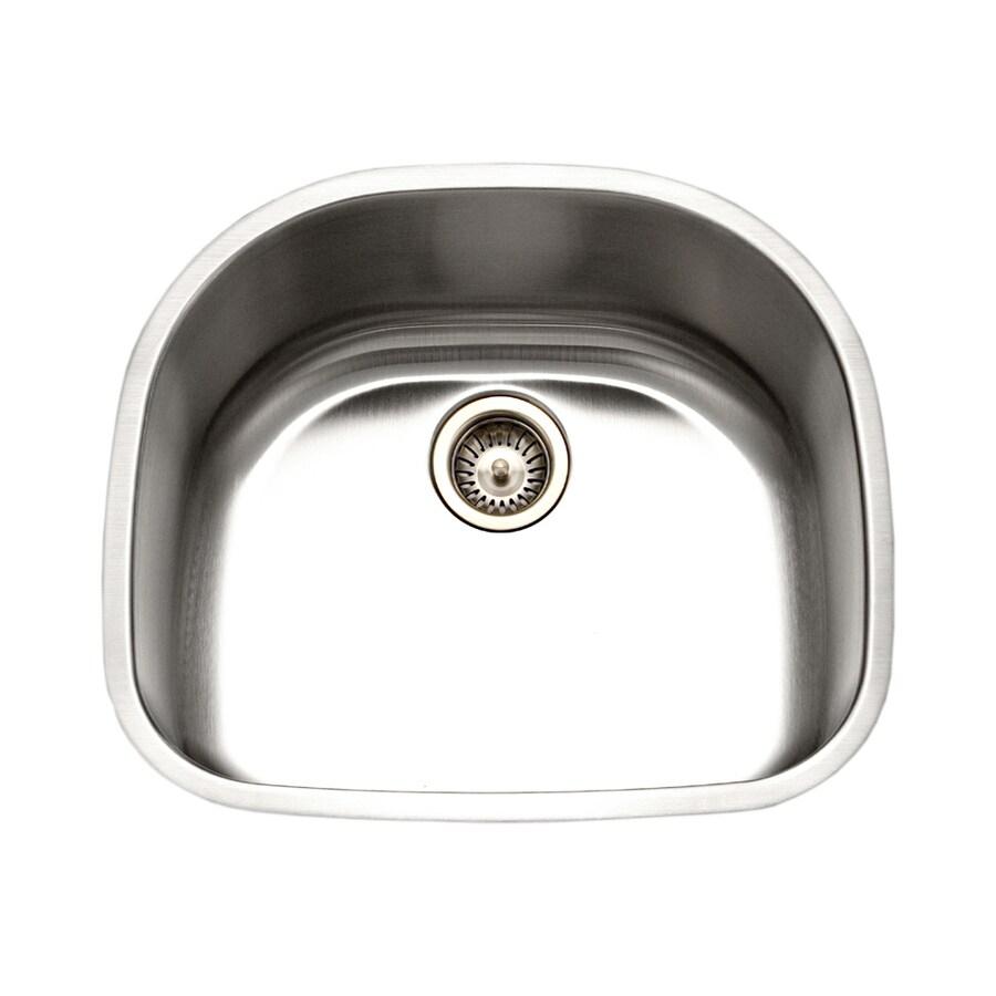 HOUZER Eston 21.25-in x 21.25-in Lustrous Satin Single-Basin-Basin Stainless Steel Undermount (Customizable)-Hole Residential Kitchen Sink