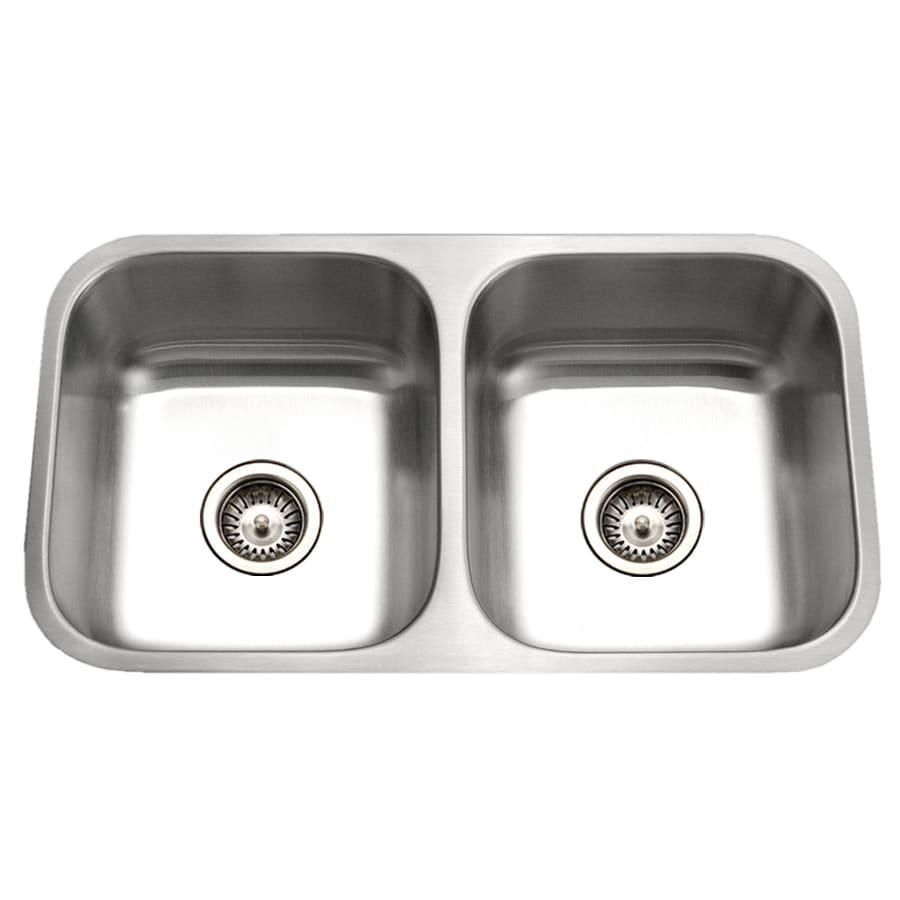 HOUZER Eston 31.25-in x 31.25-in Lustrous Satin Double-Basin Stainless Steel Undermount Residential Kitchen Sink