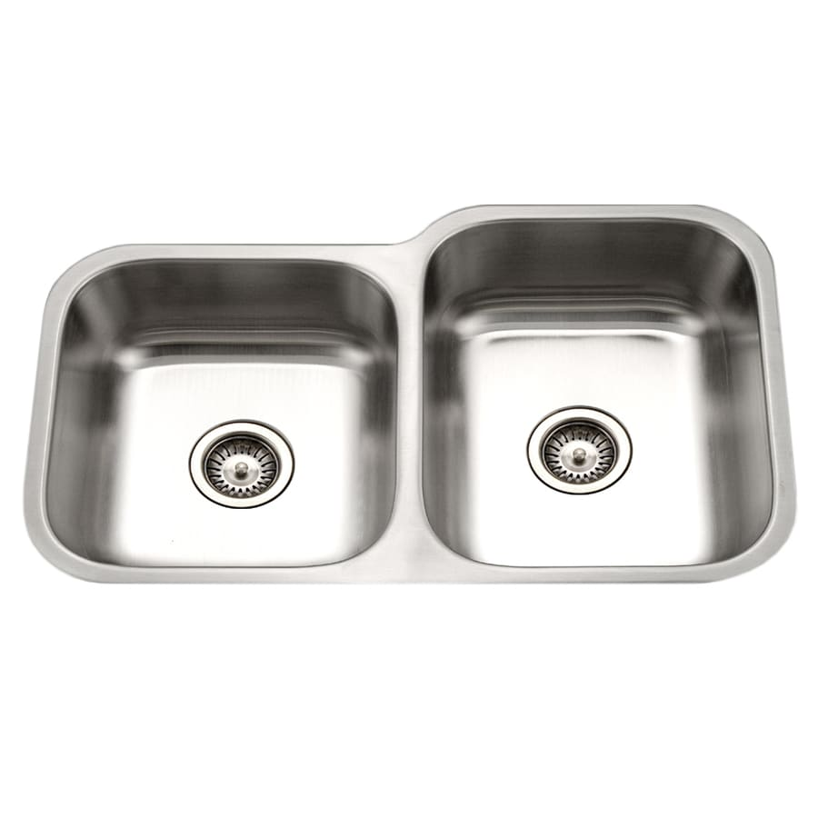 HOUZER Eston 31.25-in x 31.25-in Lustrous Satin Double-Basin Stainless Steel Undermount Residential Kitchen Sink