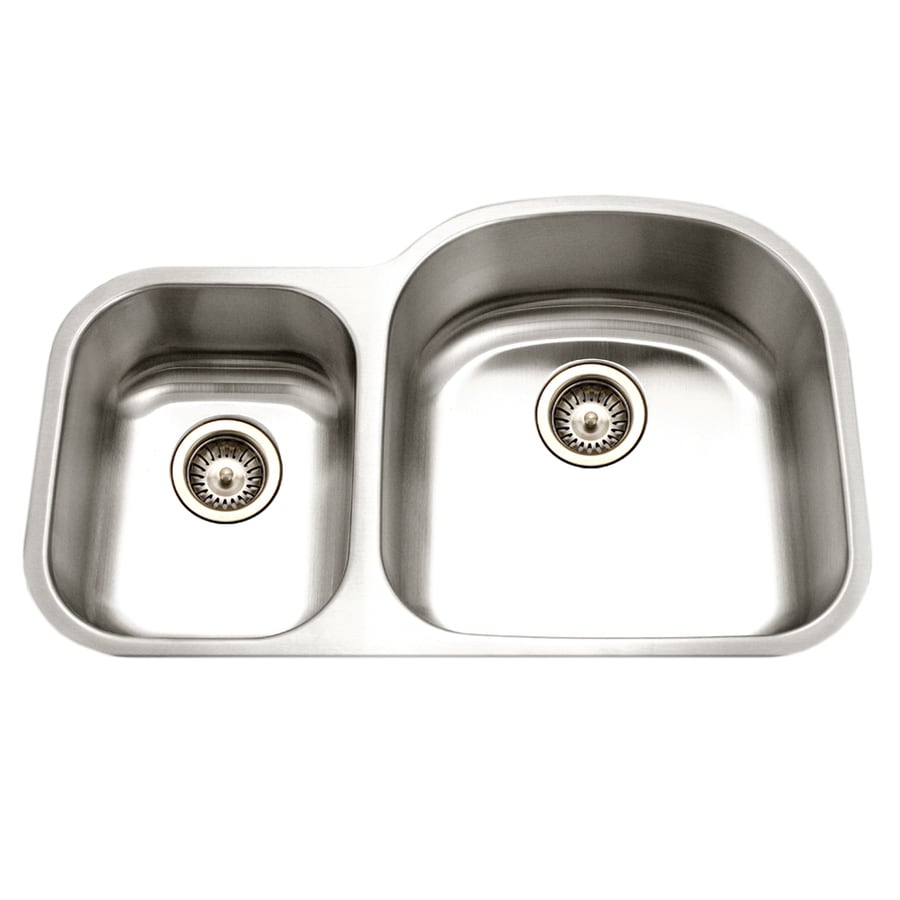 HOUZER Eston 32.19-in x 32.19-in Lustrous Satin Double-Basin Stainless Steel Undermount Residential Kitchen Sink
