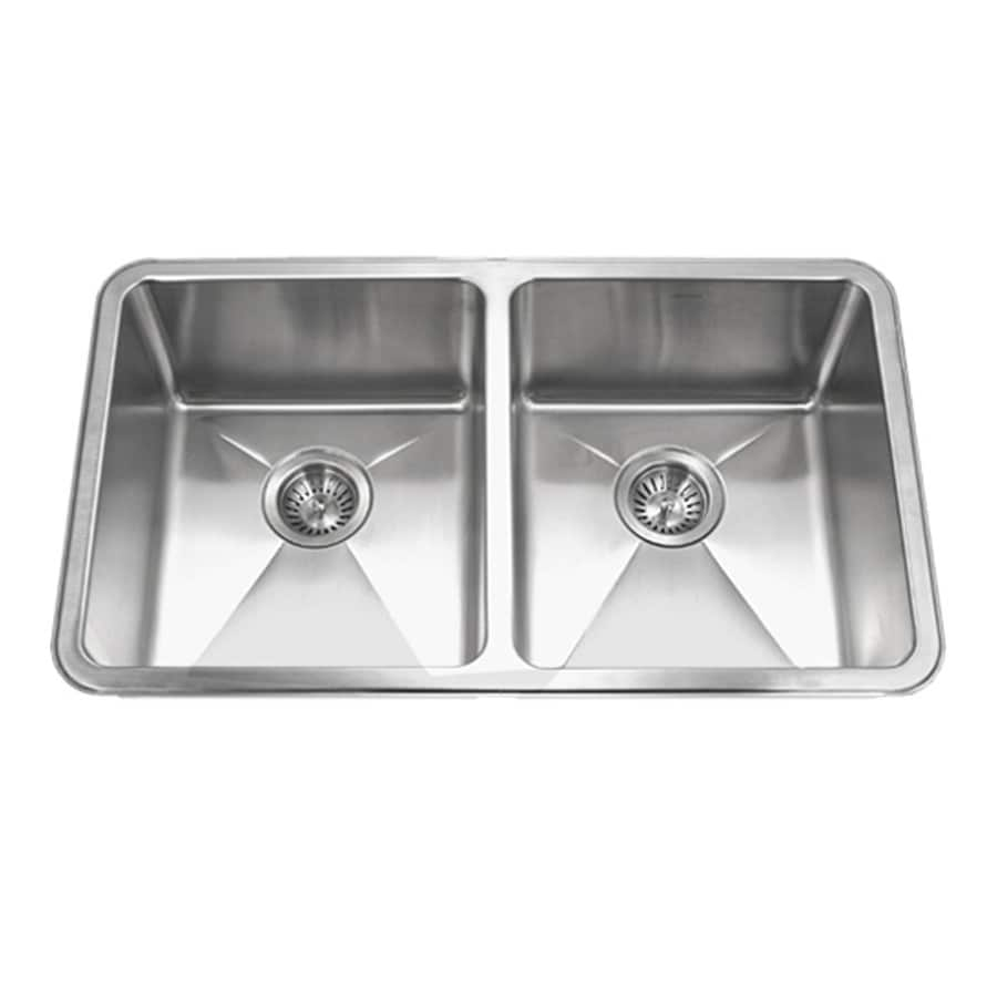 HOUZER Nouvelle 18-in x 31-in Lustrous Satin Double-Basin Stainless Steel Undermount Residential Kitchen Sink