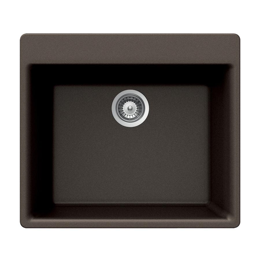 HOUZER 21-in x 24-in Bronze Single-Basin Granite Drop-in 4-Hole Residential Kitchen Sink