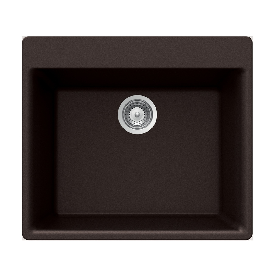 HOUZER 21-in x 24-in Chocolate Single-Basin Granite Drop-in 4-Hole Residential Kitchen Sink