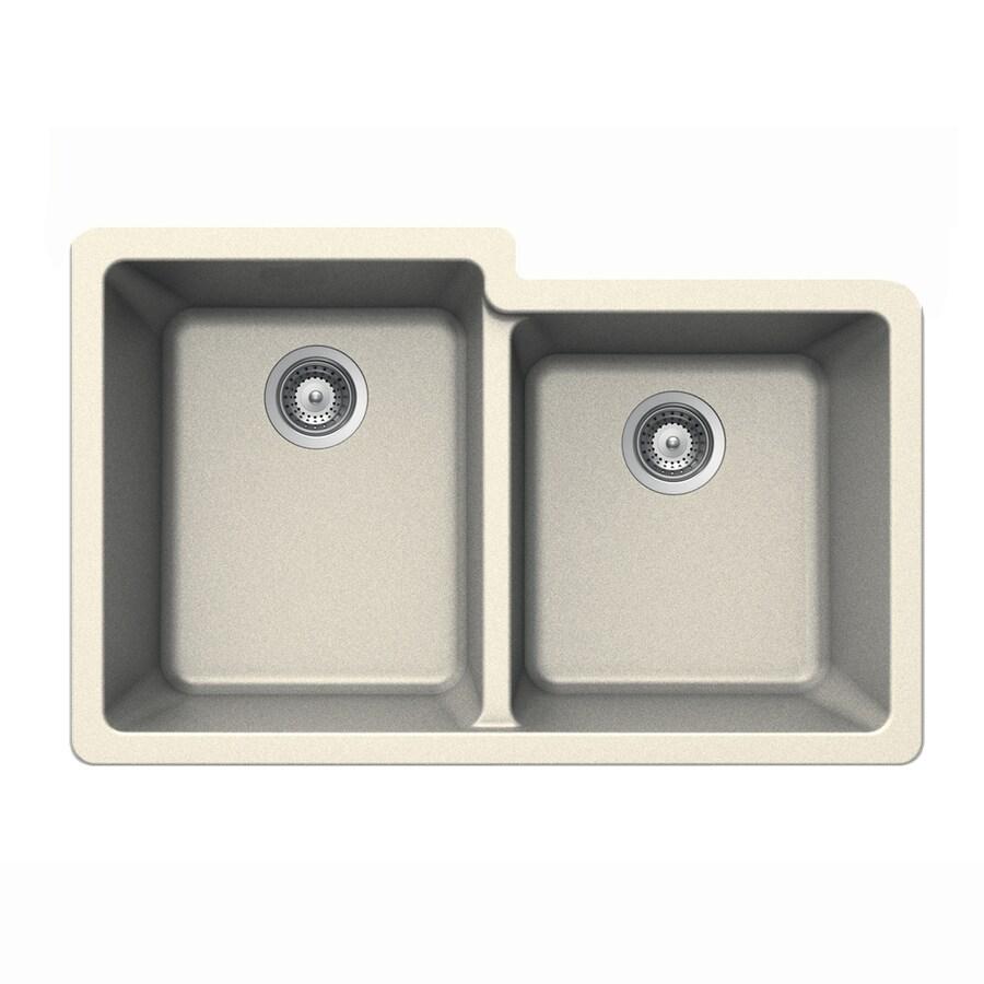 HOUZER 21-in x 33-in Magnolia Double-Basin Granite Undermount Residential Kitchen Sink
