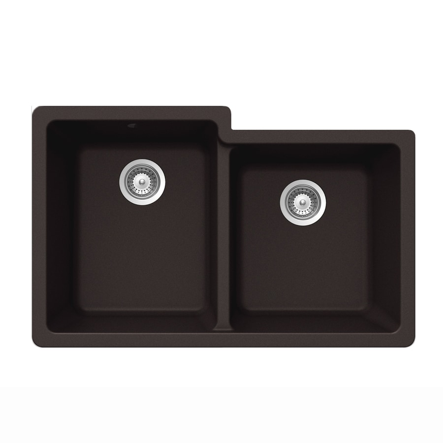 HOUZER 21-in x 33-in Chocolate Double-Basin Granite Undermount Residential Kitchen Sink