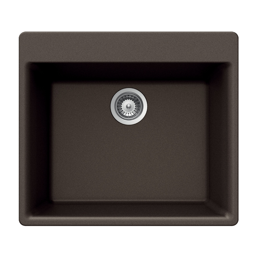 HOUZER 21-in x 24-in Mocha Single-Basin Granite Drop-in 4-Hole Residential Kitchen Sink