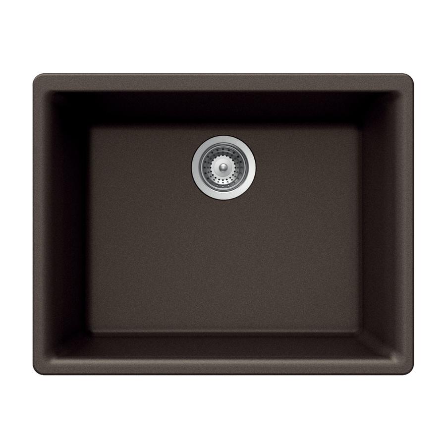 HOUZER 18-in x 24-in Mocha Single-Basin Granite Undermount Residential Kitchen Sink