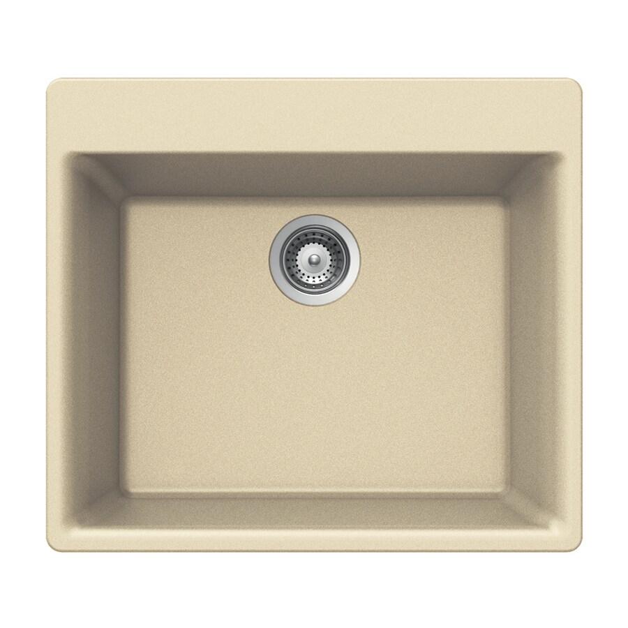 HOUZER 21-in x 24-in Colorado Single-Basin Granite Drop-in 4-Hole Residential Kitchen Sink