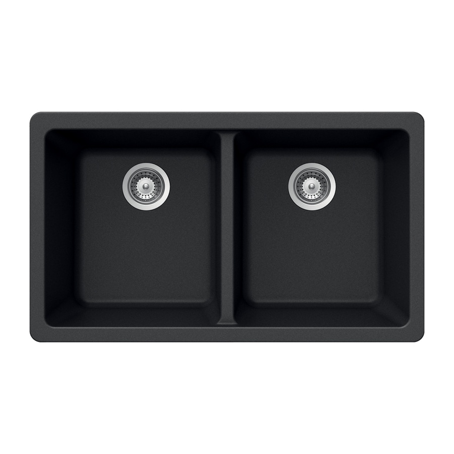 HOUZER 19-in x 33-in Onyx 2 Granite Undermount (Customizable)-Hole Residential Kitchen Sink
