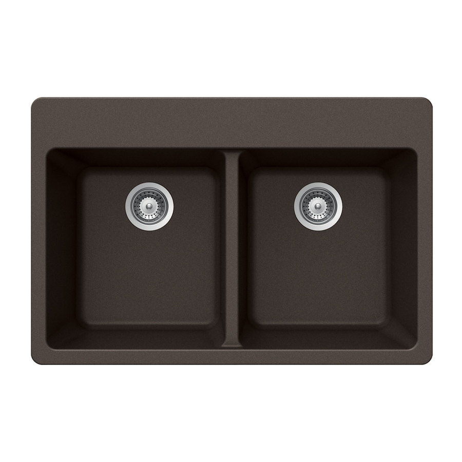 HOUZER 22-in x 33-in Mocha Double-Basin Granite Drop-in 4-Hole Residential Kitchen Sink