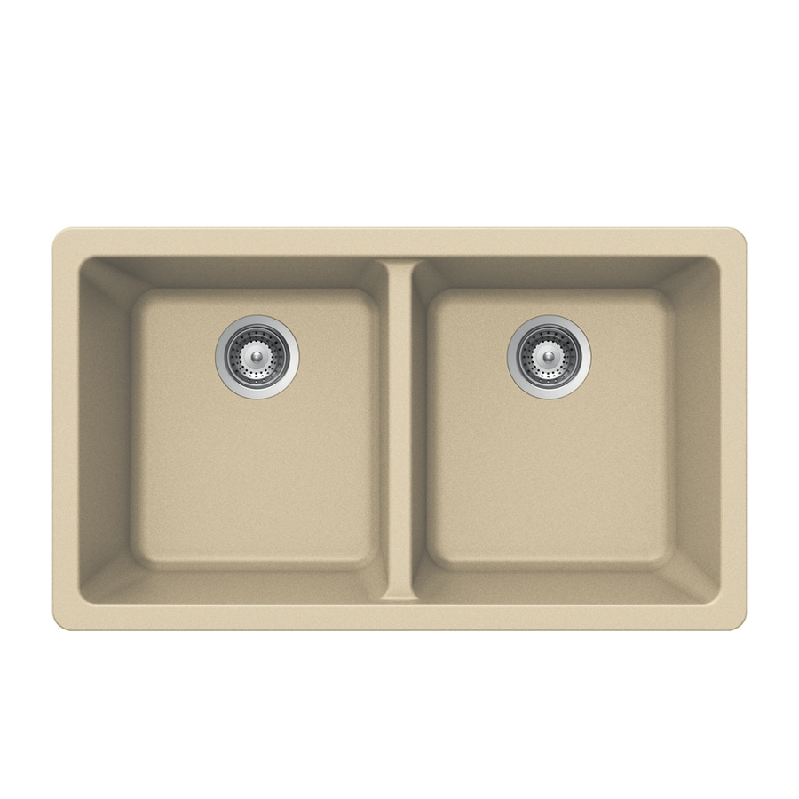 Kitchen Sink 19 X 33: HOUZER 19-in X 33-in Colorado Double-Basin Granite