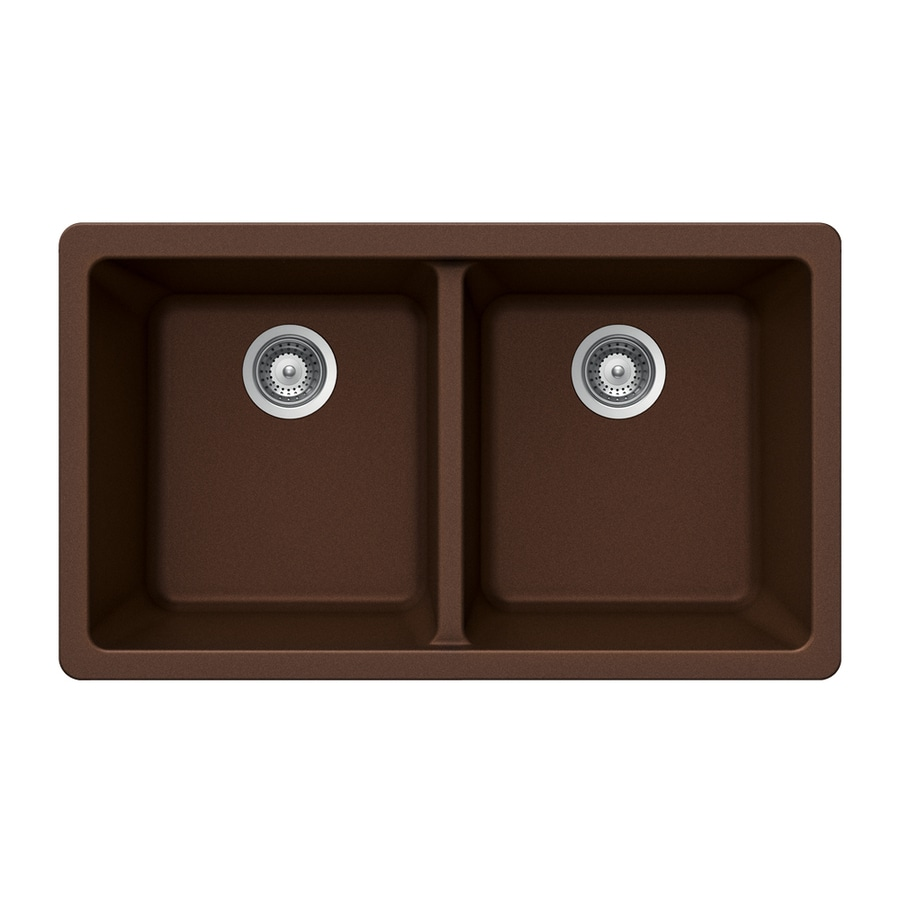 HOUZER 19-in x 33-in Copper Double-Basin Granite Undermount Residential Kitchen Sink