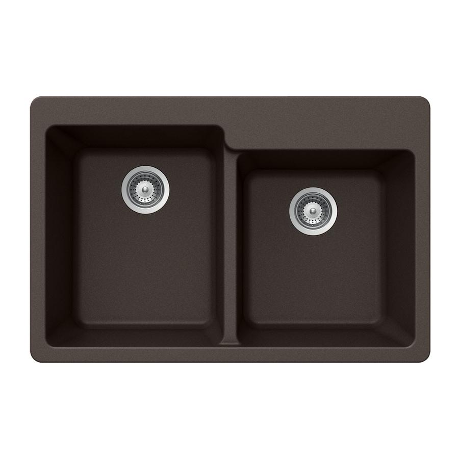 HOUZER 22-in x 33-in Mocha Double-Basin Granite Drop-in 4-Hole Residential Kitchen Sink