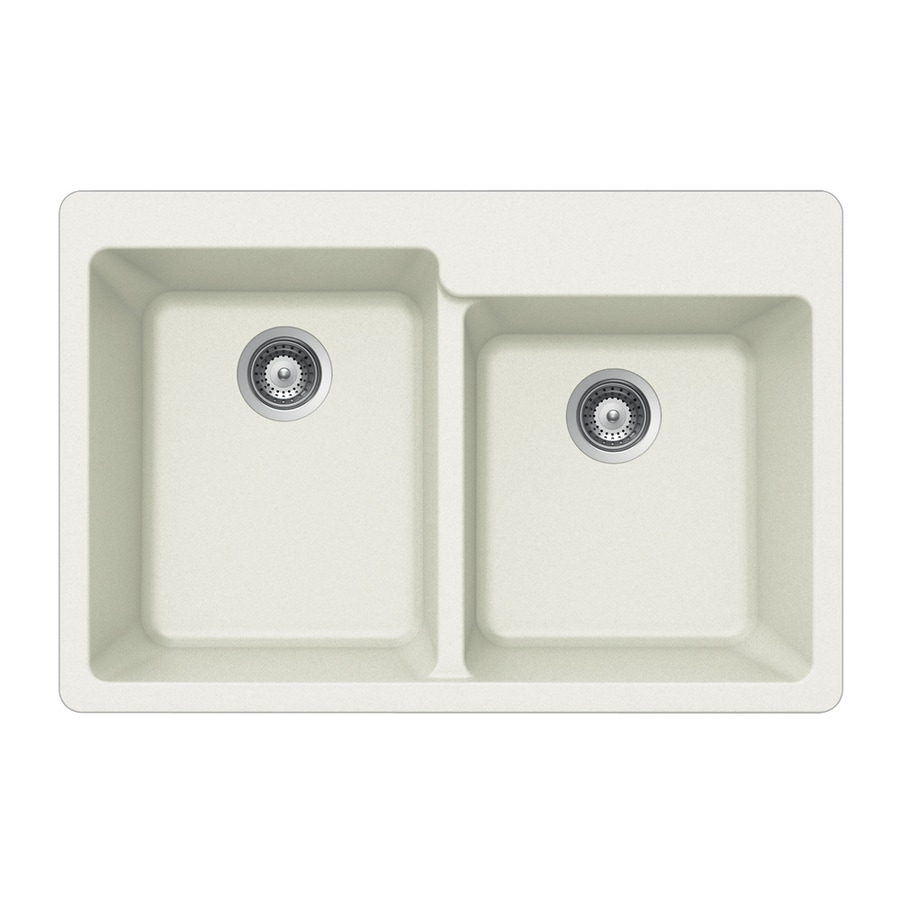 HOUZER 22-in x 33-in Alpina Single-Basin-Basin Granite Drop-in 4-Hole Residential Kitchen Sink