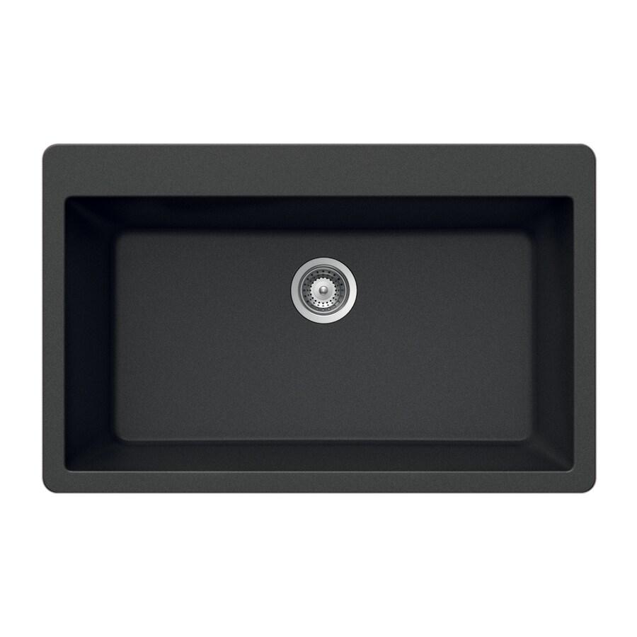 HOUZER 21-in x 33-in Onyx Single-Basin Granite Drop-in Residential Kitchen Sink
