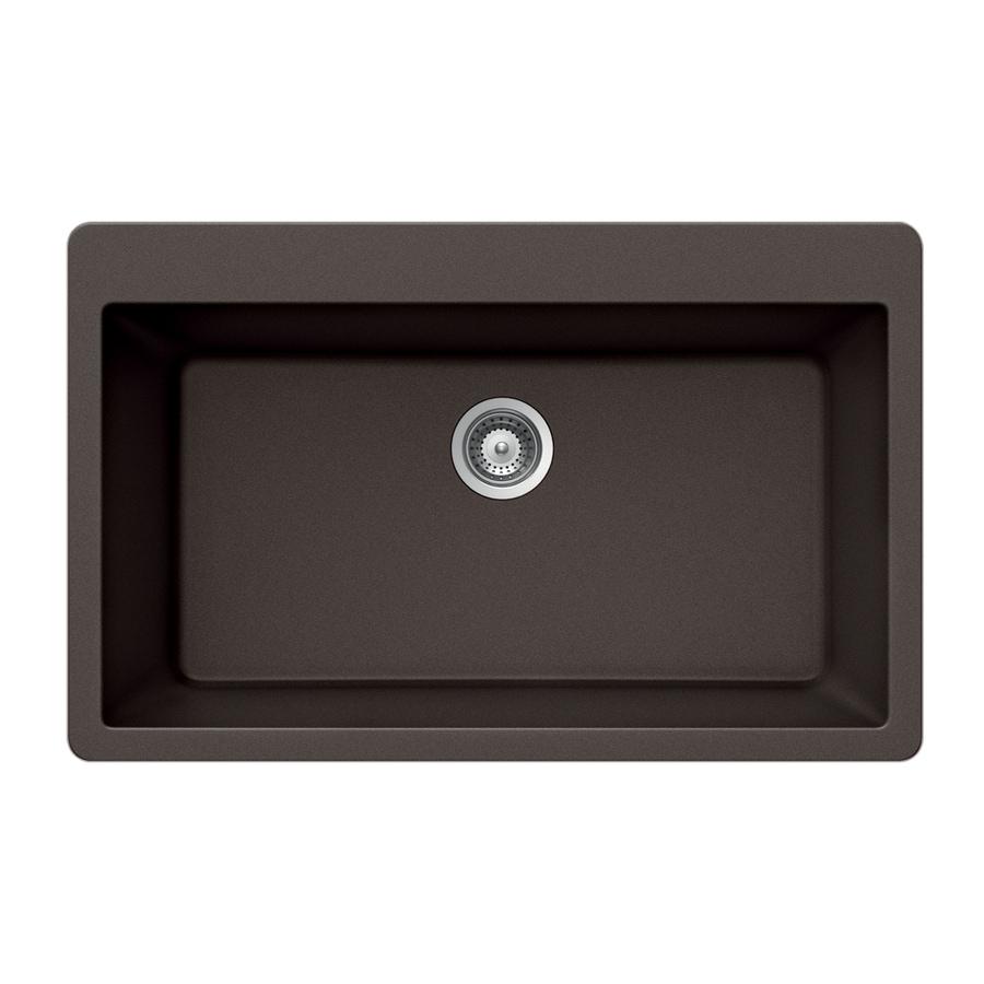HOUZER 21-in x 33-in Mocha Single-Basin Granite Drop-in Residential Kitchen Sink