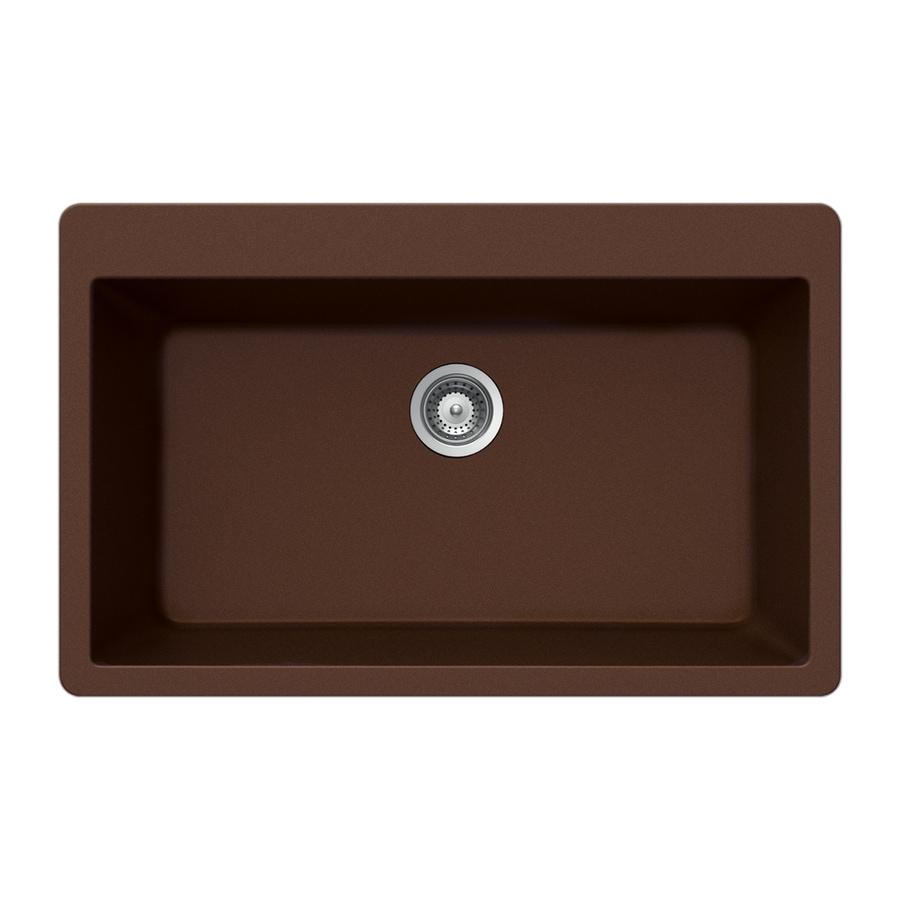 HOUZER 21-in x 33-in Copper Single-Basin Granite Drop-in Residential Kitchen Sink