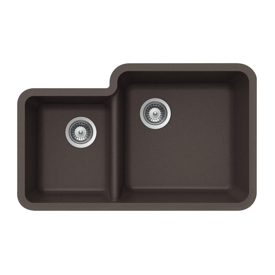 HOUZER 21-in x 33-in Mocha Double-Basin Granite Undermount Residential Kitchen Sink