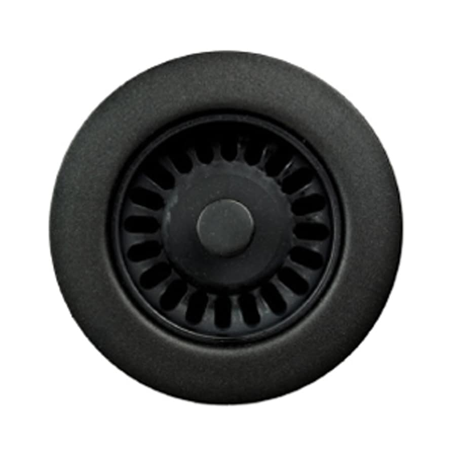 HOUZER Preferra 3.5-in Matte Black Plastic Fixed Post Kitchen Sink Strainer