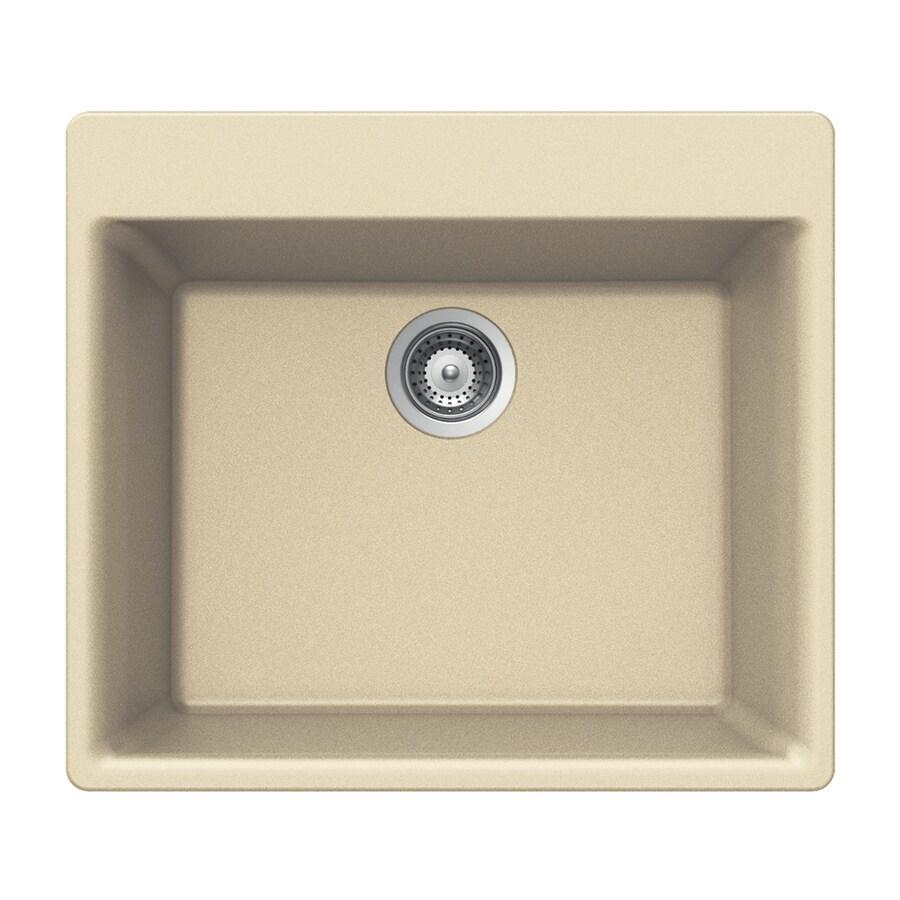HOUZER 17.75-in x 23.625-in Sand Single-Basin-Basin Granite Drop-in 4-Hole Residential Kitchen Sink