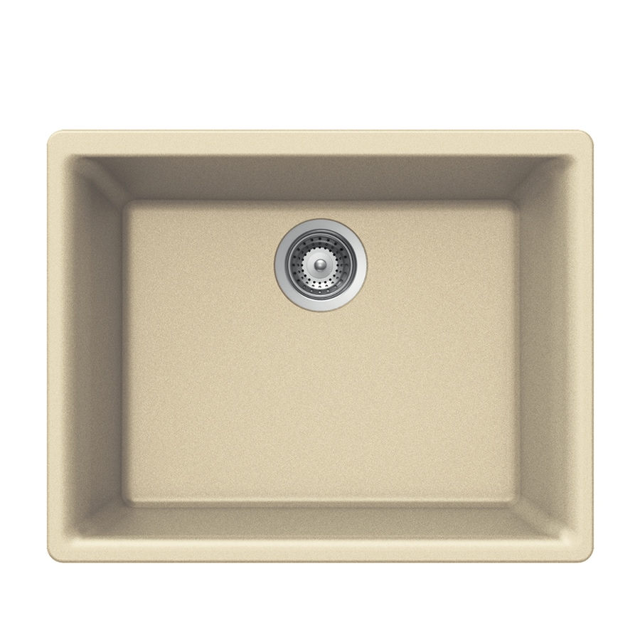 HOUZER 17.75-in x 23.625-in Sand Single-Basin Granite Undermount Residential Kitchen Sink