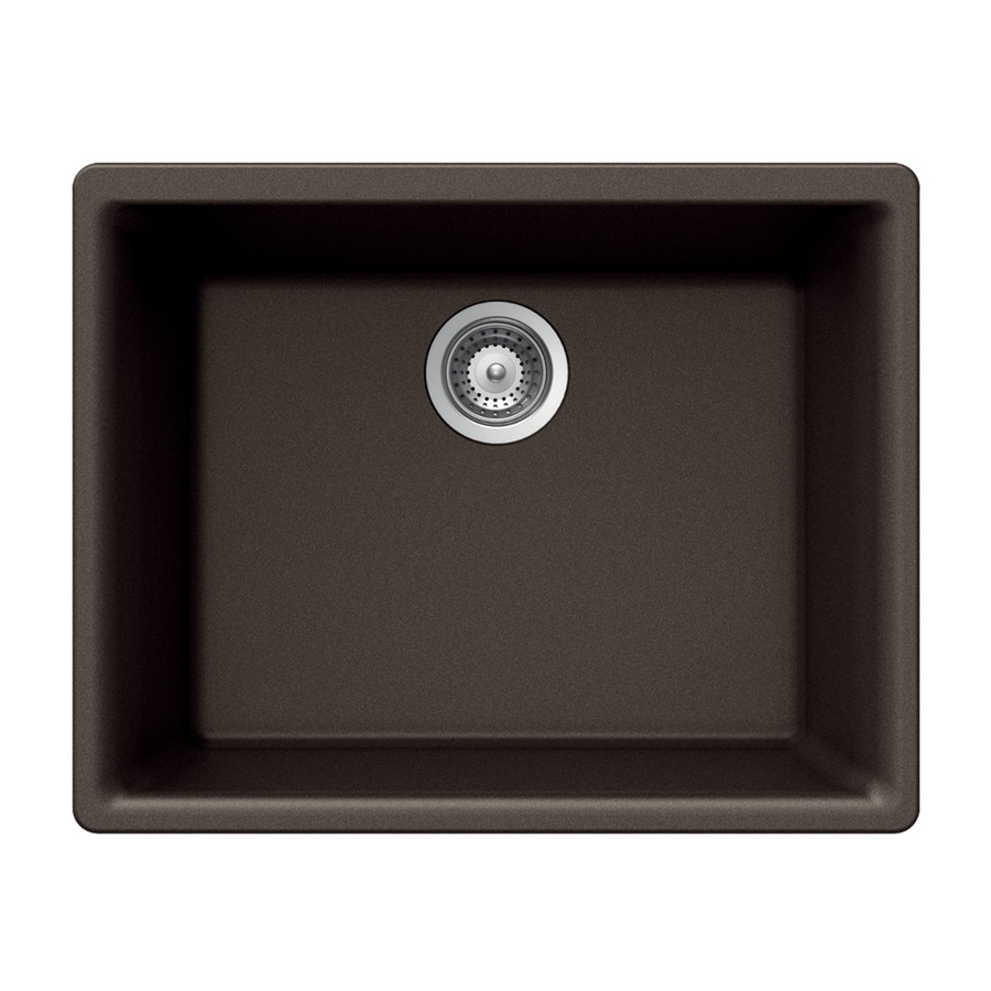 HOUZER 17.75-in x 23.625-in Mocha Single-Basin Granite Undermount Residential Kitchen Sink