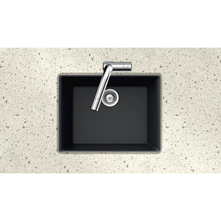 HOUZER 17.75-in x 23.625-in Midnite Single-Basin Granite Undermount Residential Kitchen Sink